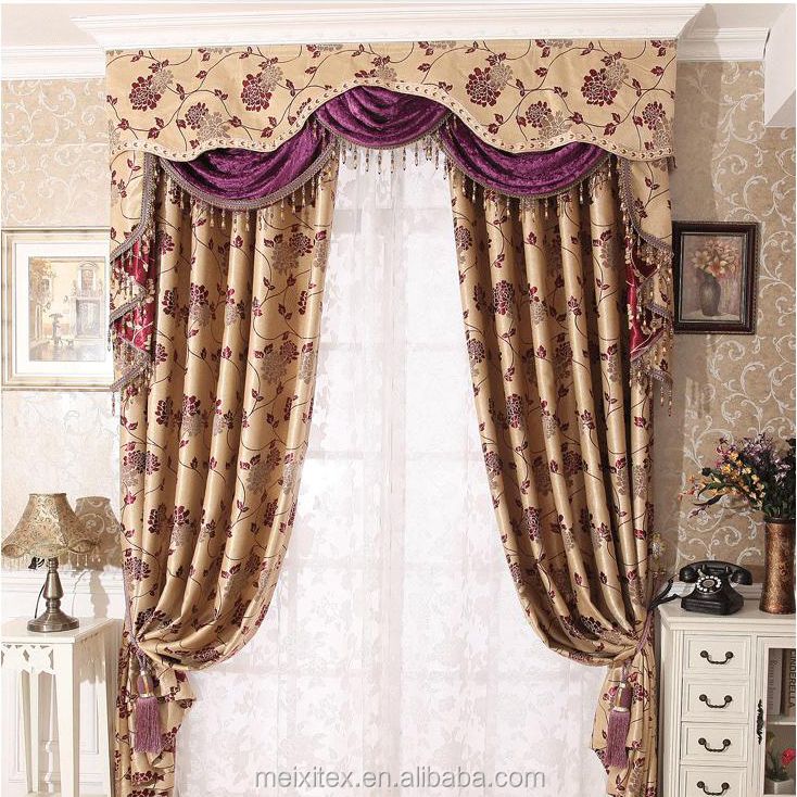 Lovely heart pattern Jacquard blackout curtain,decor window luxurious curtains with valance
