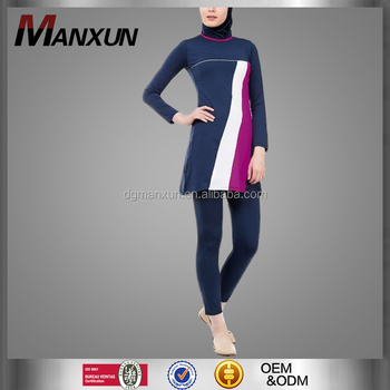 Wholesales hot girls photos muslim swimming wear breathable islamic swimming suit