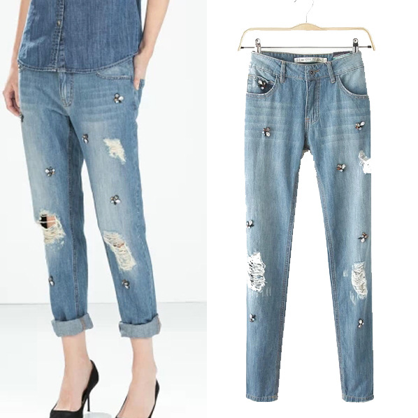Summer Style Women Jeans Hole Ripped Jeans For Women Beading Vintage Boyfriend Jeans For Women Plus Size Denim Pants Jeans