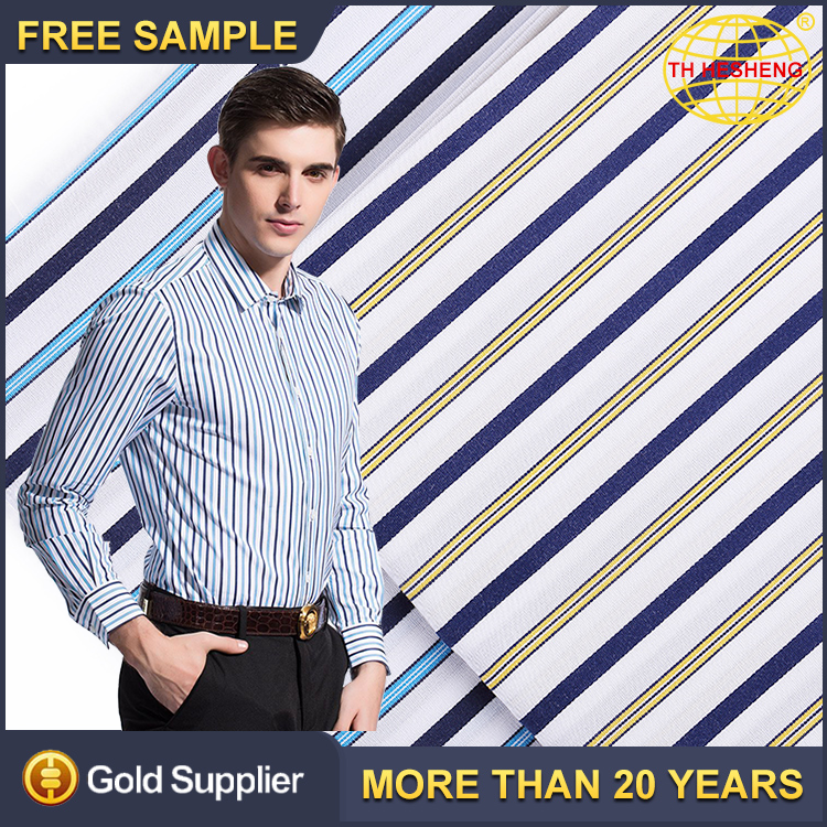 Hot Sale Fashion Stocklot Clothing Shirting Woven Textile Fabrics High Quality 100% Cotton Striped Fabric For Shirts