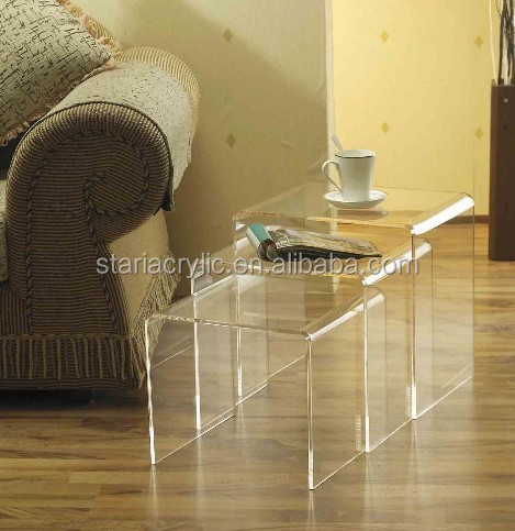 Clear Acrylic N Coffee Table , Transparent Acrylic End Coffee Table