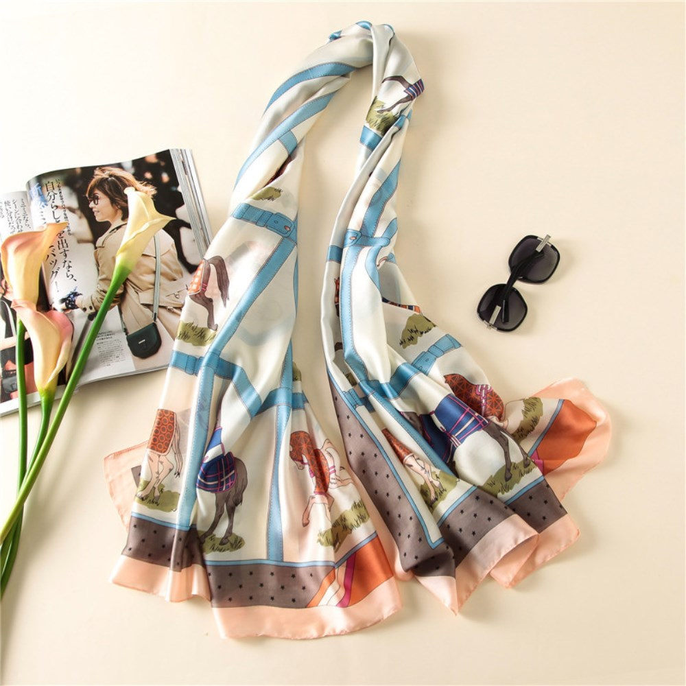 New imitated silk <strong>scarf</strong> printing horse chain for ladies fashion <strong>scarves</strong>