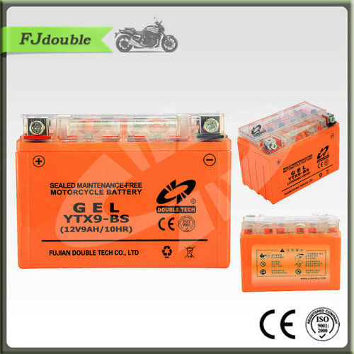 Good Quality Maintenance free motorcycle Battery DRY CHARGED GEL ELECTRIC MOTOR BATTERY YTX9-BS(12V 9AH)