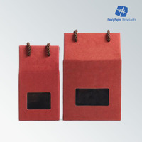 Red Color Ribbon Handle Kraft Paper Bag With Clear Window