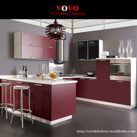 2016 newest design high quality lacquer kitchen cabinets red color modern kitchen furnitures