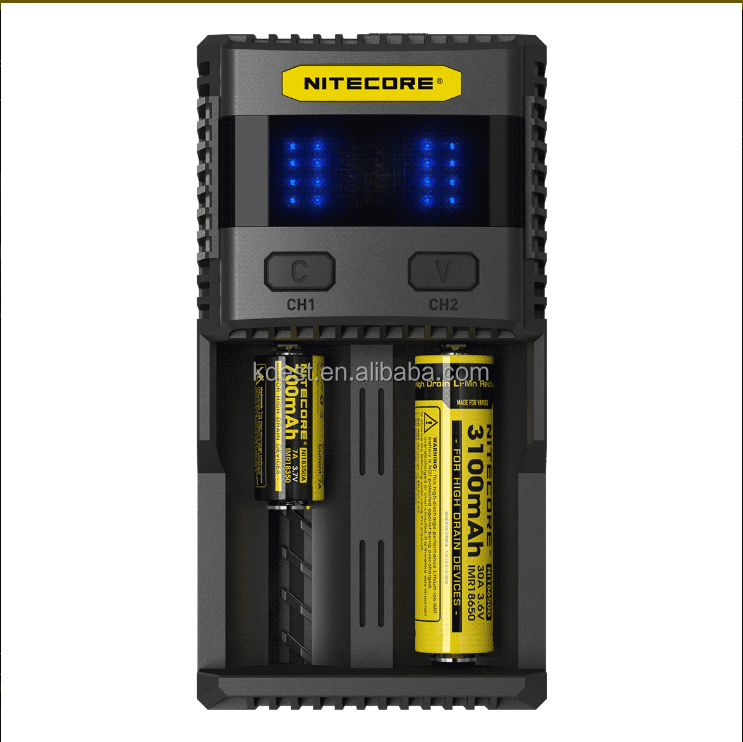 2017 New Arrival Nitecore SC2 Universal rechargeable 3.7V Li-ion Battery Charger, 18650 Battery Charger