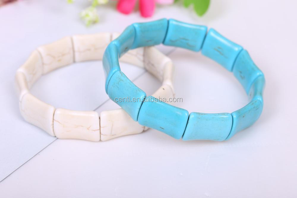 turquoise bamboo bead bangle stretch turquoise stone bangle