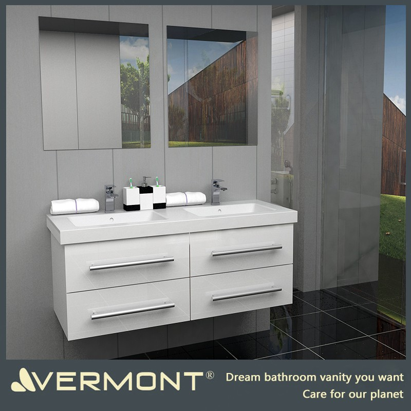 2017 China Hangzhou Vermont White High Gloss Lacquer Bathroom Vanity And Mirror Set