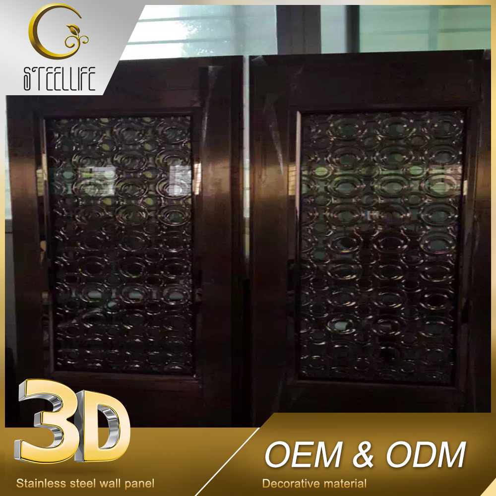 Hot Sale Custom Double Wrought Stainless Steel Metal Hotel Decorative Doors