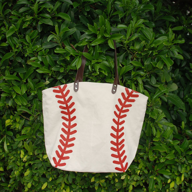 Wholesale Blanks Canvas Baseball Tote <strong>Bag</strong> Sports <strong>Bag</strong> with Red Printing DOM103281