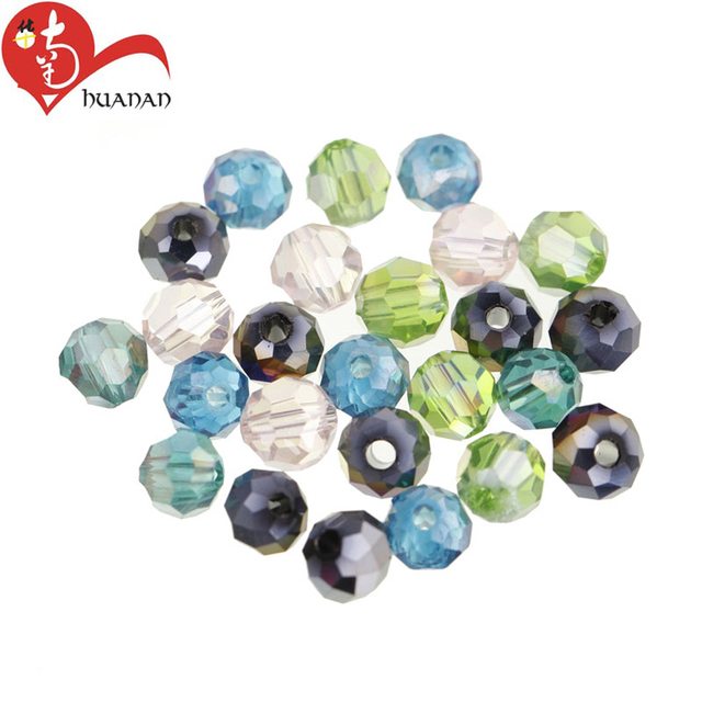Wholesale 12mm mixed colors round glass crystal beads for jewelry making