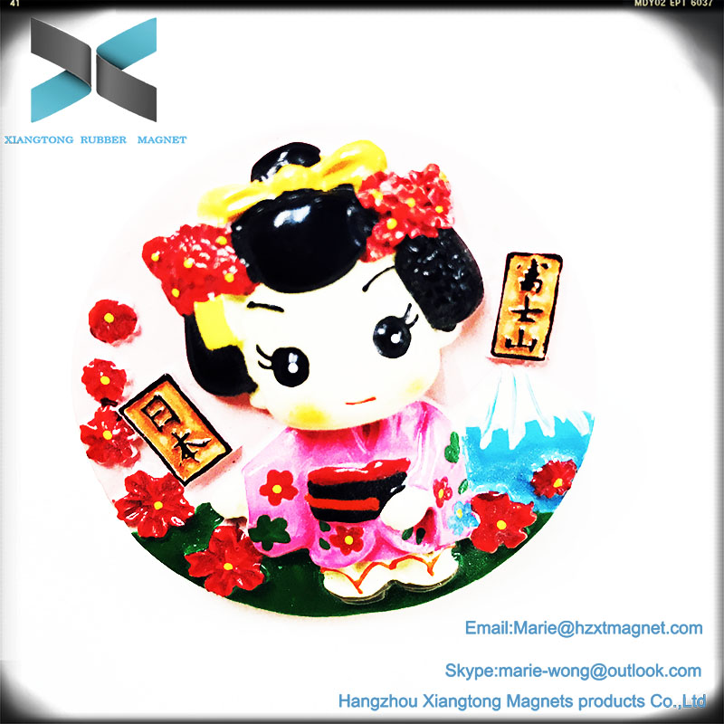 Exquisite Japanese girl polyresin fridge magnet 3d customize design refredgerator magnets