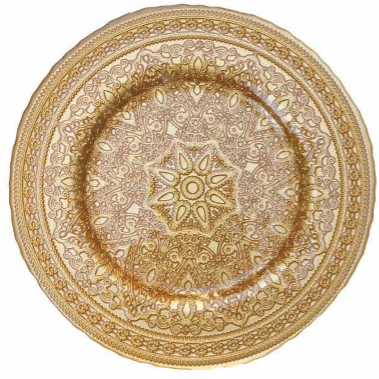 "Round <strong>13</strong>""x13"" Colorful Plain Charger Plates with Dusting Finish 24 Pcs/set (Gold)"