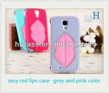 for samsung s4 i9500 leather case, red lips flip cover leather mobile phone case