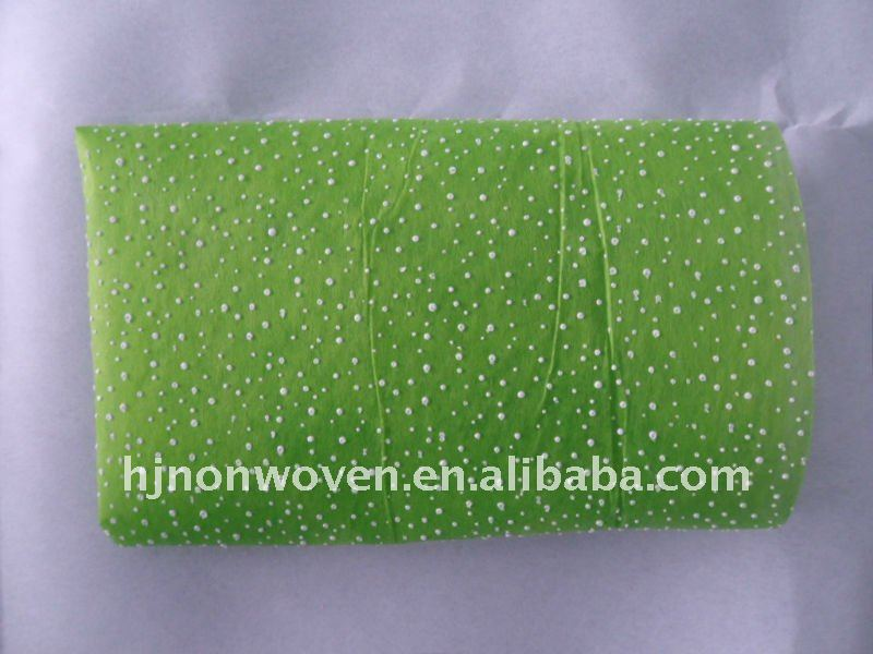 Glitter green foamed non woven floral wraps/flower wrapping paper.
