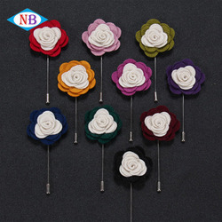 Custom fashion velvet lapel pin double-color rose men's brooch
