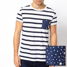 striper t shirt with star print pocket