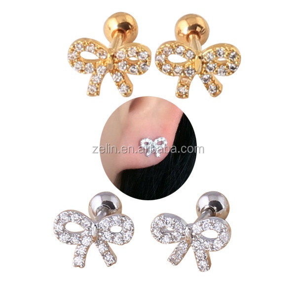 Surgical steel plate technolog bowknot jewelry tragus piercing cartilage earrings plugs initial fashion earring stud