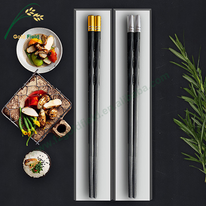 best quality plastic PPS black chopsticks with gold and silver head 23 cm