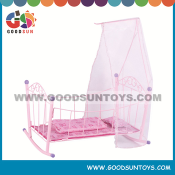 Lovely toys baby doll cradle folding baby doll iron crib and bed