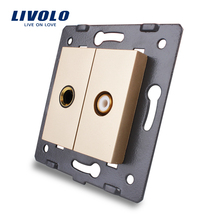 Livolo Gold Crystal Glass Panel C7-1MVD-13 Wall Microphone and Video Socket Outlet Electric Plug