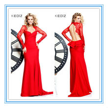 Sexy Red Long Sleeve Backless Indian Style Prom Dresses(EVTA-1009)