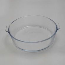 1.6 L crystal clear round bluish borosilicate glass baking pan with handle