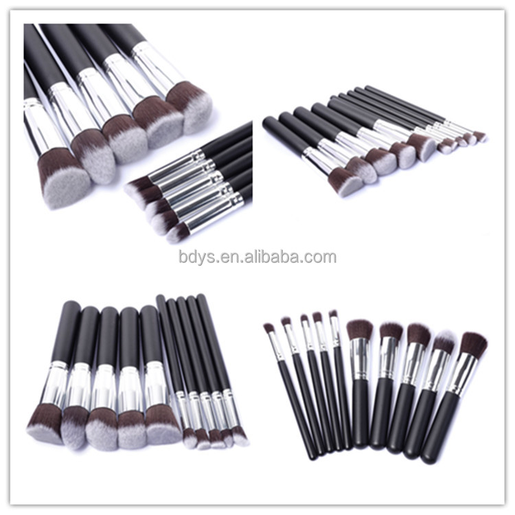OEM 10pcs Animal Hair Wood Wand Makeup Brush Set Cosmetic Travel Make Up Brushes With a Beauty PU leather Bag