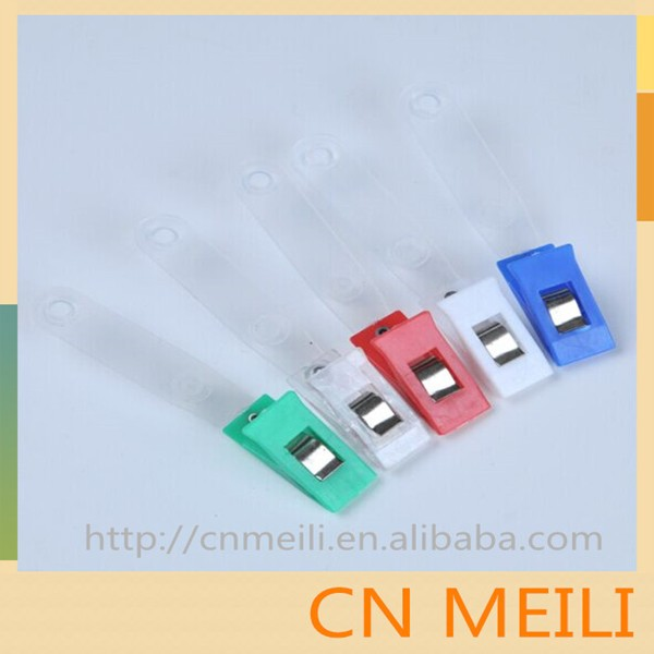 Wholesale Plastic metal id card badge bulldog Clips with plastic strap