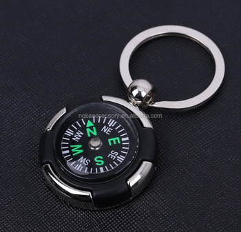 hot sell customized compass metal keychain with laser logo