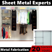 DIY Bedroom wire shelving system metal hanging closet with drawers