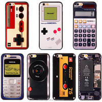 Calculator Cell Phone Case Black Cover Vintage Pattern Printed Camera Game pad Cassette Compatible For Apple iPhone 6