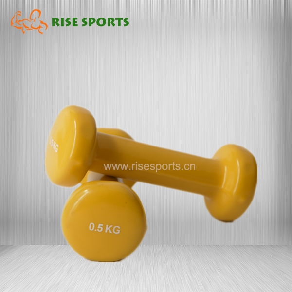 COLORFUL CAST IRON VINYL DIPPED DUMBBELL SET