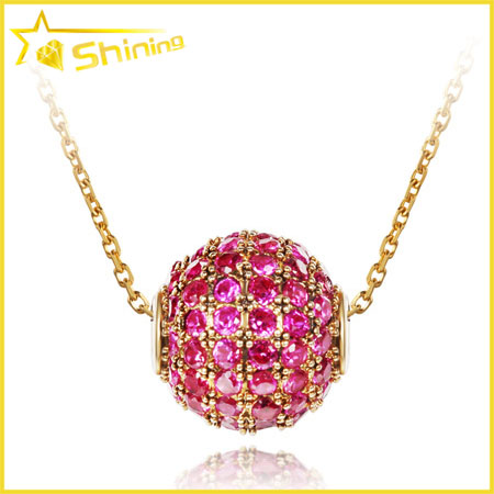18k gold chain ball charms silver 925 cz pave ball pendant