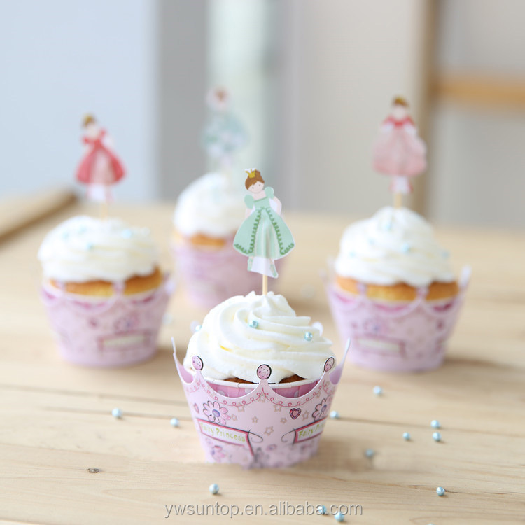 New fancy crown princess cupcake wrappers & toppers picks decoration girl baby shower favors