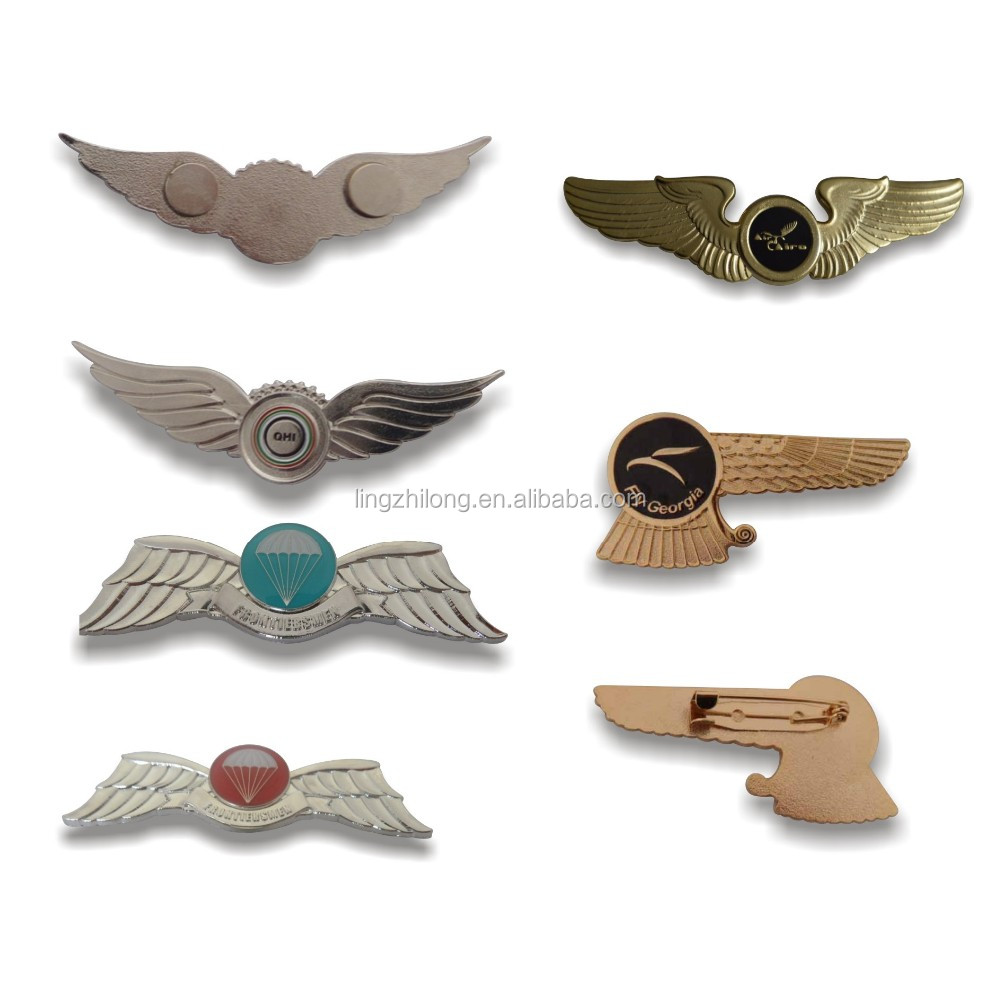 custom metal pilot wings pin badge gold wing badge wing lapel pin badge