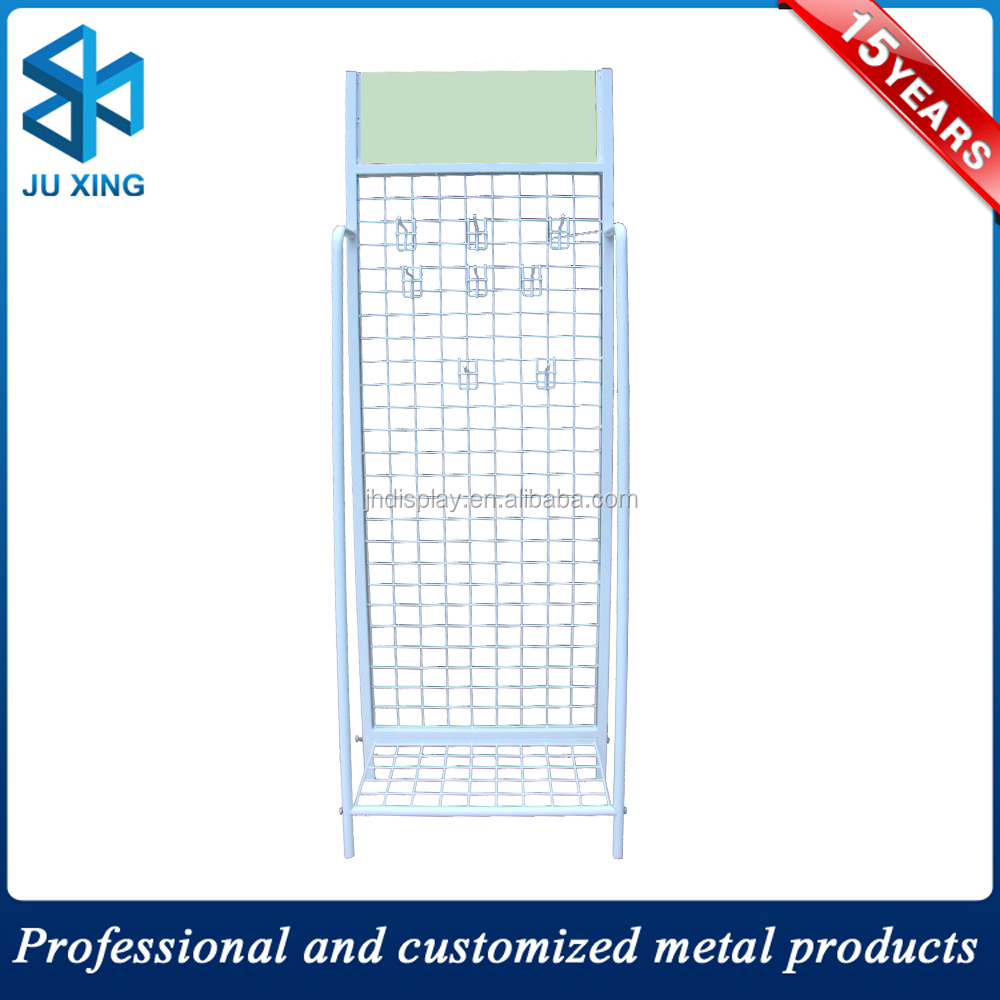 Retail shop metal wire display rack with hooks cable drum stand