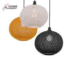 Round Ball Linen Thread Hanging Light American Country Syle Rattan Line Ball Lamp