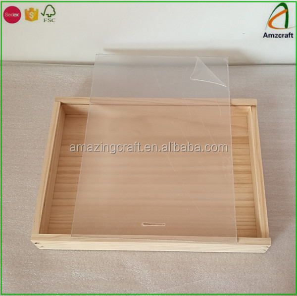 Unfinished A4 Size Wooden Photo Album Slide Box