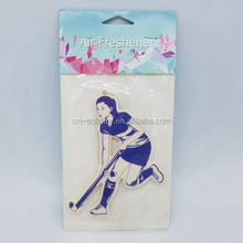 Custom best smelling perfumed paper car air freshener for car Hockey sports design scent last more than 25 days