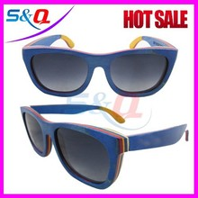 2015 china wholesale Recycled skateboard bamboo and wood sunglasses