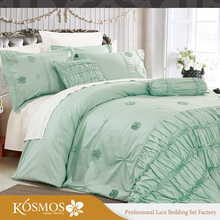 Factory home green comforter set home embroidered luxury bed comforter set 7 piece
