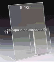 Clear Acrylic Table Tent L Shape Acrylic Sign Holder With Brochure Pocket