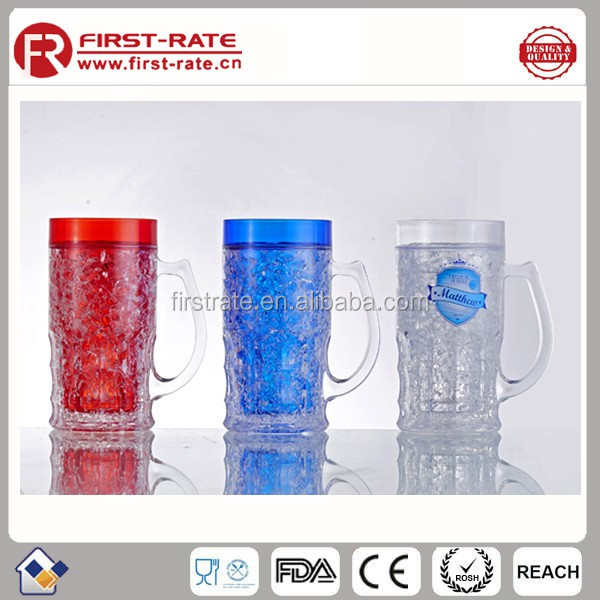 Plastic Double Wall Frosted Beer Mug Ice Cup, coffee or Gel mug,Freezing beer mug