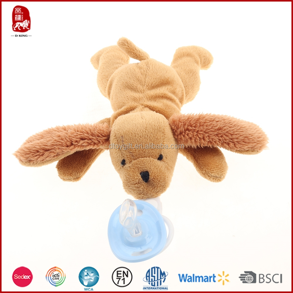 Plush pacifier natural rubber pacifier dog toy for baby