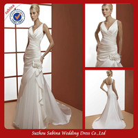 GWA124 A-line with tulle overlay skirt wedding dress spaghetti strap v-neck open back cheap ivory satin wedding dresses