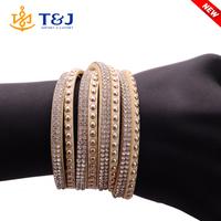 <<< New arrivals leather bracelets wrap acrylic rhinestone bling bling /charm bracelets for women/
