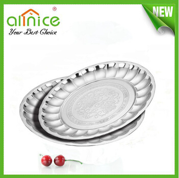 25-50cm round stainless steel tray with flower pattern