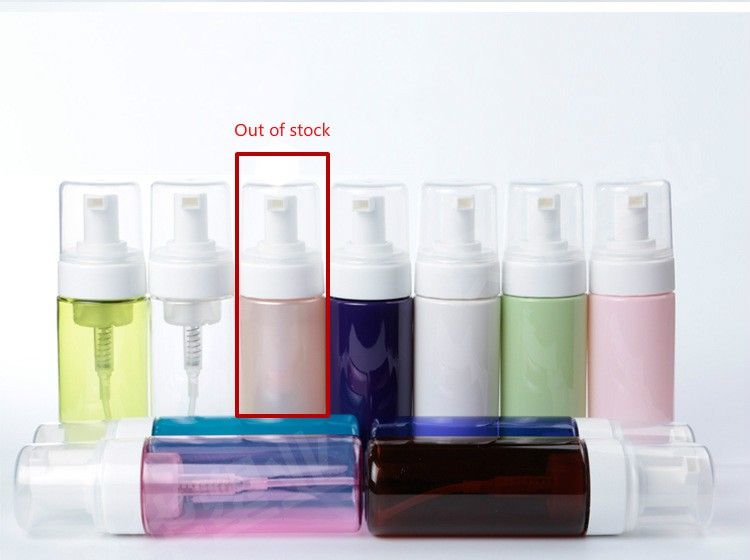 free sample 150ml pink plastic cosmetic foam pump dispenser spray applicator bottle with brush top pump lotion bottle