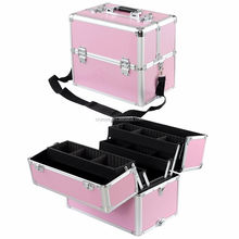 2In1 Rolling Aluminum Makeup Case w/4 Wheels Artist Cosmetic Organizer Box Opt
